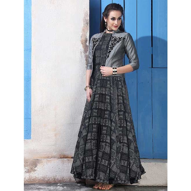 80a0e1542 ... Buy Black Colored Chanderi Cotton with Digital Print Long Gown with  Banglory Silk Koti. Black