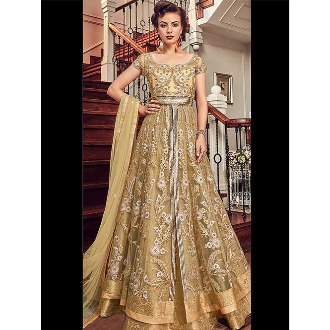 a14138a430 Golden Beige Embroidered Branded Ultimate Premium Net Anarkali ...