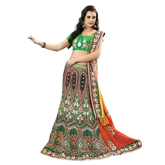 f69067934b Green and Yellow Colored Net Lehenga Saree with Embroidery and Satin Inner  Georgette Pallu With Stone