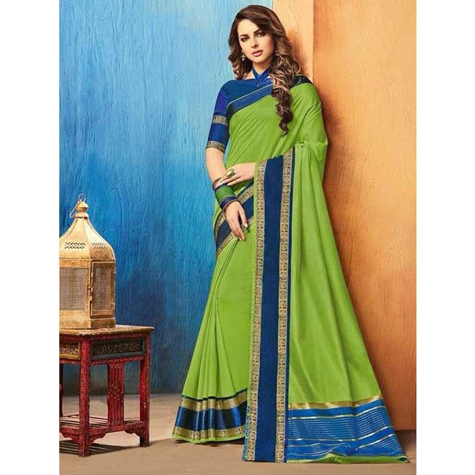 a28dd1dc8d4373 Green Color Beautiful Cotton Silk Saree Display Gallery Item 1 ...