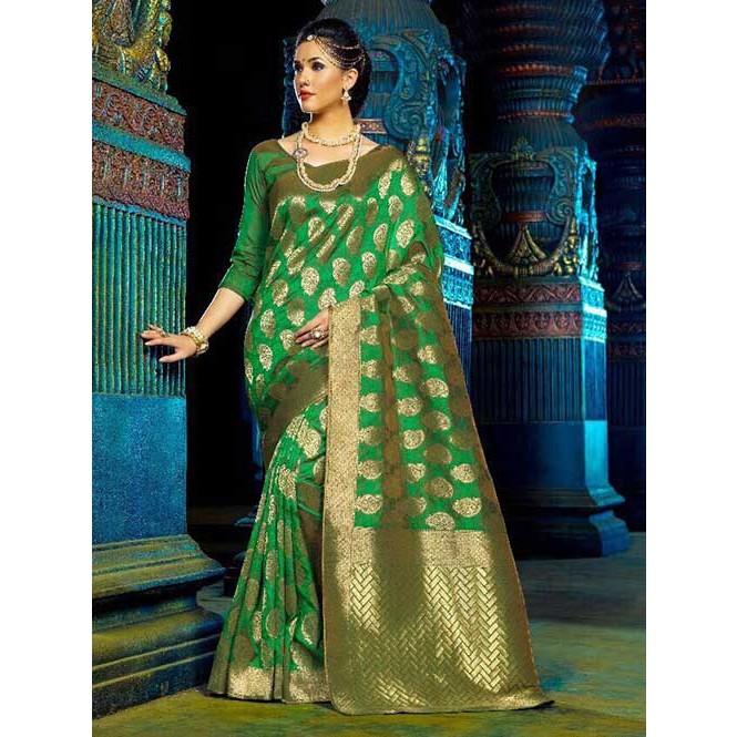a3df097d6d4815 Green Color Beautiful Waving Silk Saree Display Gallery Item 1 ...