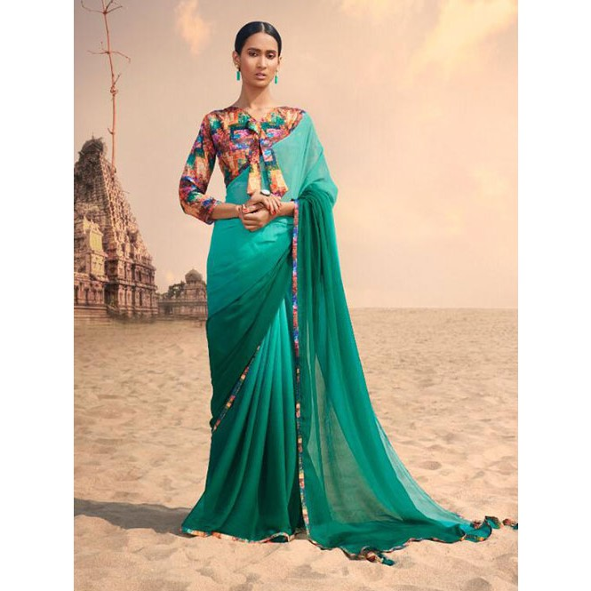 49ecc086bc2e45 Green Colored Beautiful Chiffon Shaded Color Saree With Printed Saree