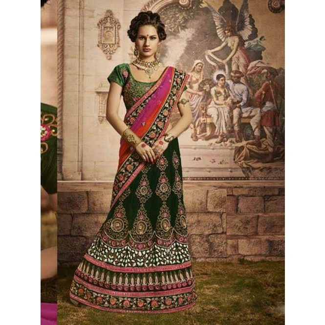 6d7b65a081 Green Colored Beautiful Embroidered Micro Velvet Lehenga Display Gallery  Item 1 ...