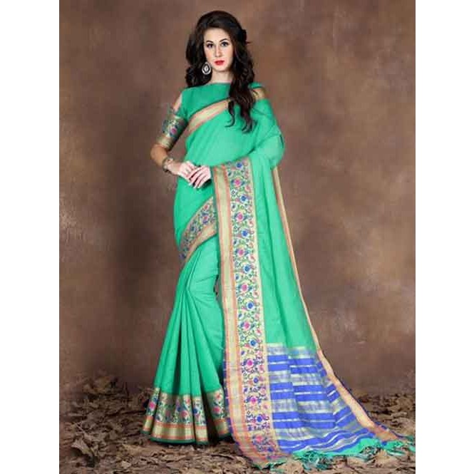 a946ddb1d1cef Green Colored Beautiful Pure Soft Cotton Saree With Exclusive Latkan  Display Gallery Item 1 ...