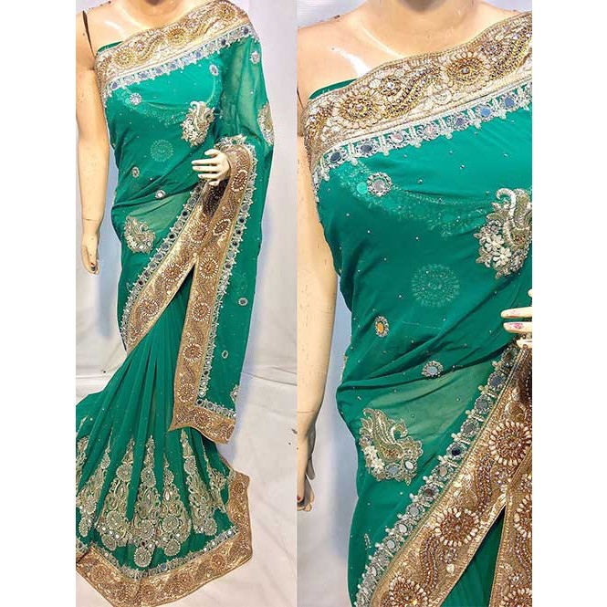 3fe4611273 Green Colored Heavy Embroidered Georgette Saree With Beautiful Mirror-work  and Stonework Display Gallery Item 1
