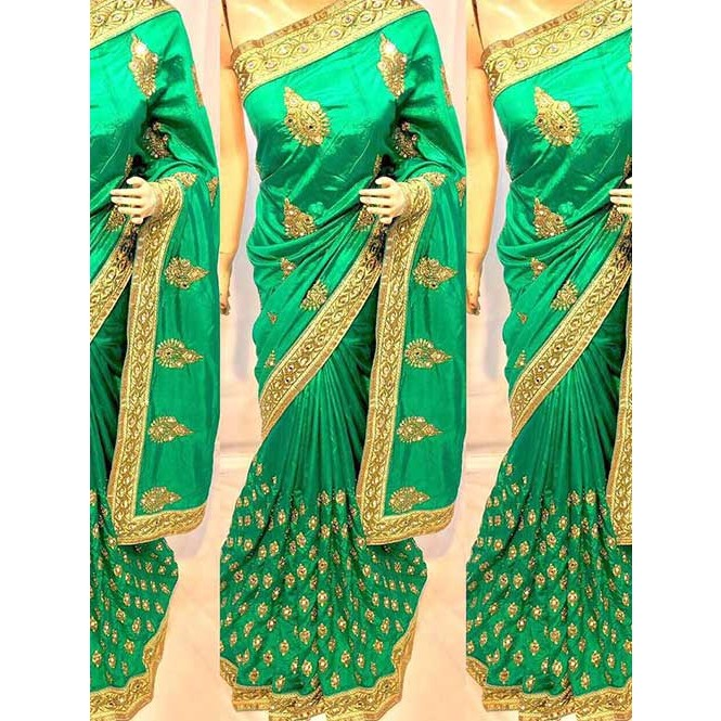 a52c2318ddcac Green Colored Heavy Embroidered Pure silk Saree Display Gallery Item 1 ...