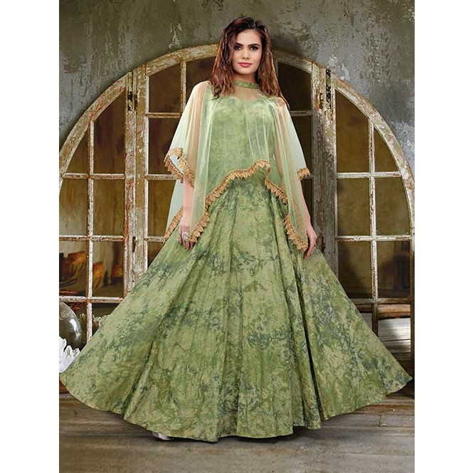 a3bb42521d49 Green Colored Jacquard Silk Digital Printed Gown with Beautiful Net ...