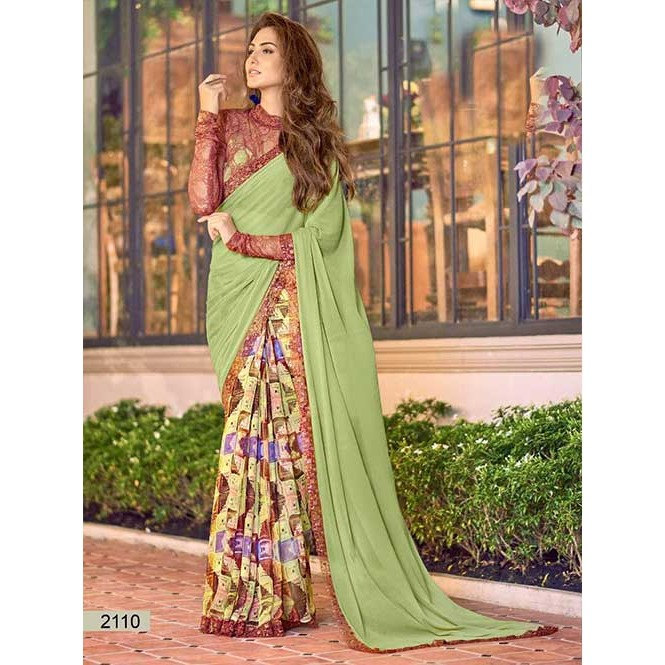 50e0a7c3b82 Green Colored chiffon and Faux Georgette Printed Saree With Beautiful Blouse  Display Gallery Item 1 ...