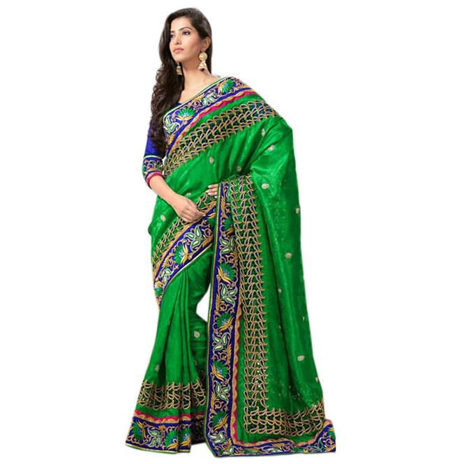 4f7467438e2984 Green Colored Pure Georgette Designer Saree with beautiful Embroidery  Display Gallery Item 1 ...