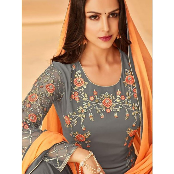 d174939261 Grey Colored Heavy Embroidered Original Georgette Salwar Suit Material -  Mayra