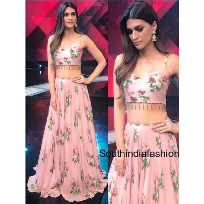 f9433f73c3e ... Silk Pink Floral Printed Bollywood Style Lehenga Choli. Pink. Pink  Display Gallery Item 1 ...