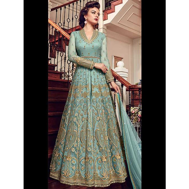 cf973e9d45 Light Blue Embroidered Branded Ultimate Premium Net Anarkali Lehenga ...