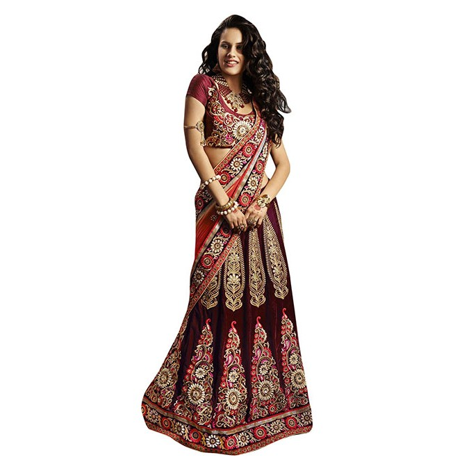 57f60ab3f0 Maroon Colored Beautiful Embroidered Micro Velvet Lehenga Display Gallery  Item 1 ...