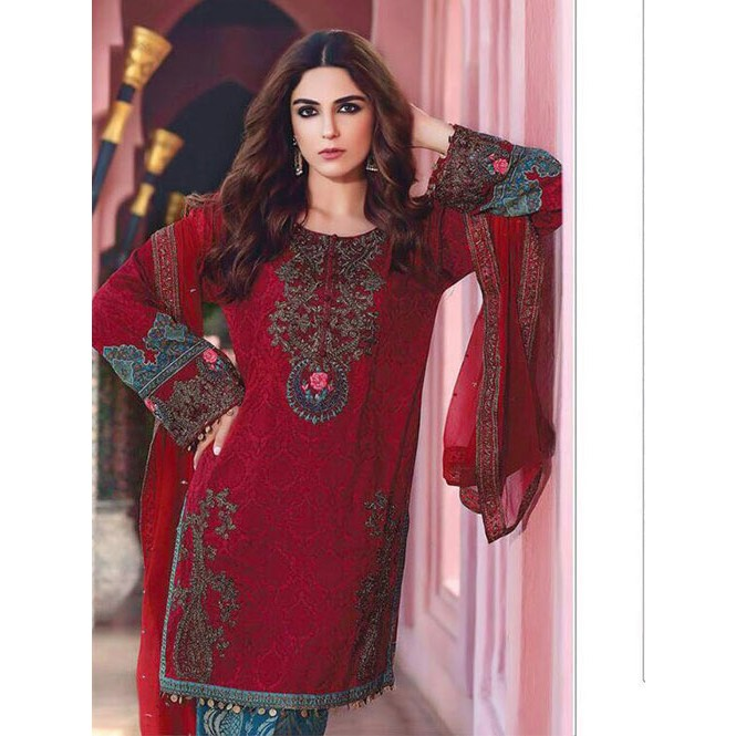 6cf9939e8f Maroon Colored Beautiful Embroidered Pakistani Salwar Suit | Shop Now