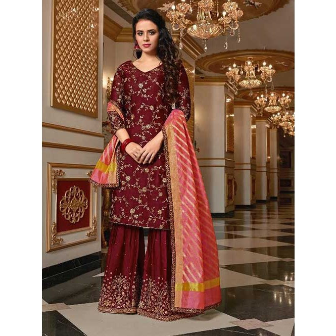 fbeef4cf7b Maroon Colored Beautiful Embroidered Satin Georgette Pakistani Sharara Suit