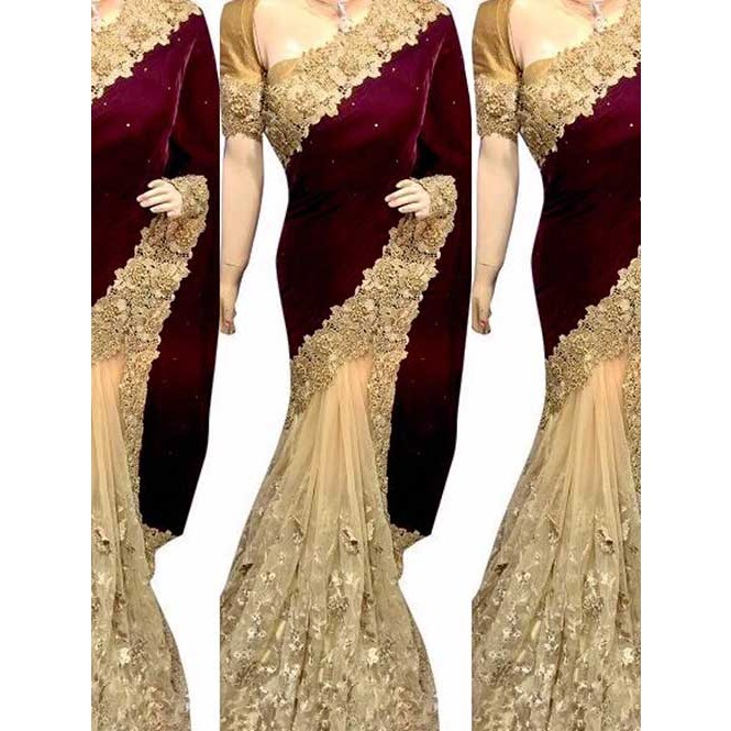 83f07d10c7 Maroon Colored Beautiful Embroidered Velvet Heavy Saree Display Gallery  Item 1 ...