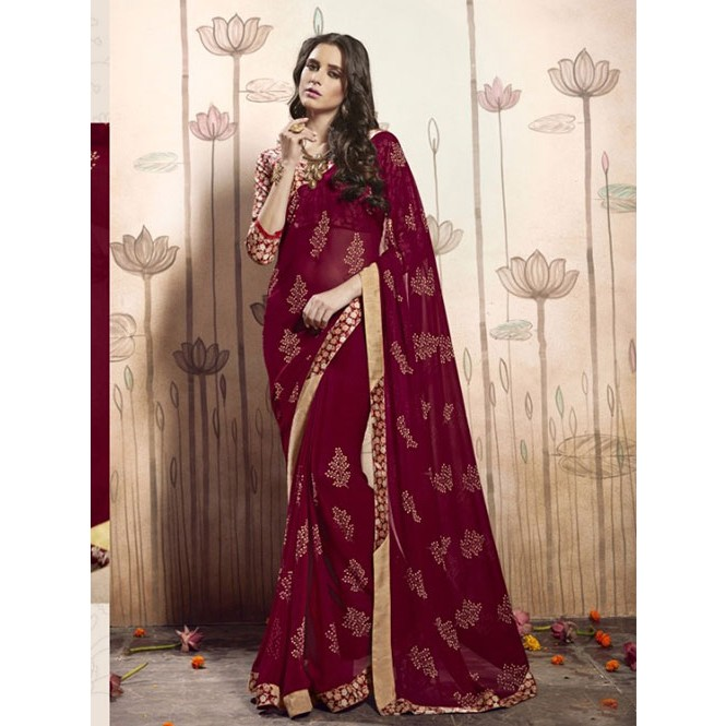5ea62abb92 Maroon Colored Beautiful Faux Georgette Saree with Printed Blouse. Display  Gallery Item 1 ...