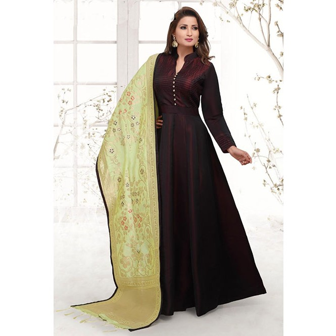 734a5ebbe4 ... Satin Silk Anarkali Suit With Fancy Button and Matching Bottom and  Dupatta. Maroon