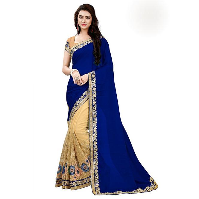 60268b0adb Navy Blue Color Designer Beautiful Chiffon and Net saree with Blouse ...