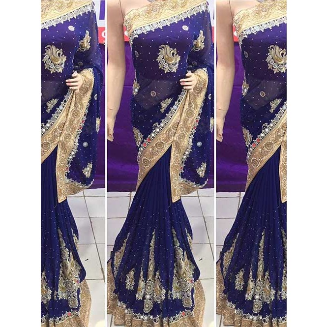 bf2b19a8f7 Navy Blue Colored Heavy Embroidered Georgette Saree With Beautiful Mirror- work and Stonework Display Gallery Item 1