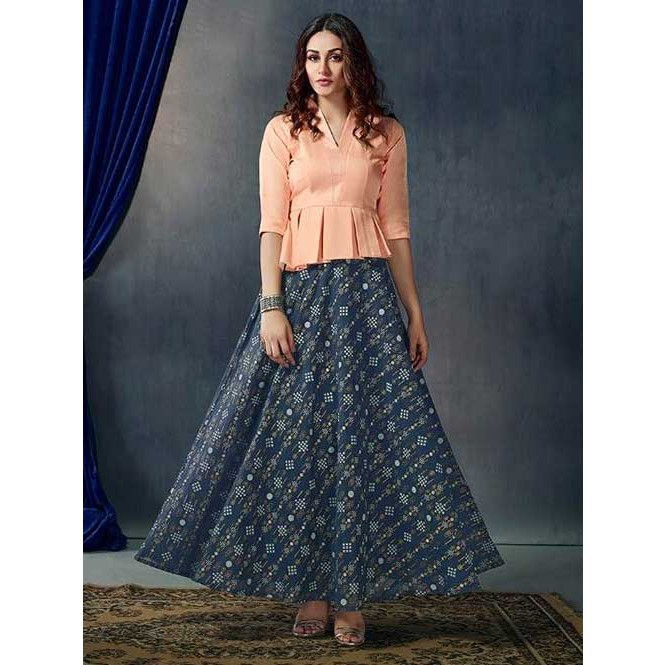 3492a5f457 New Arrival Beautiful Ready-made Blue Printed Skirt With New Style ...