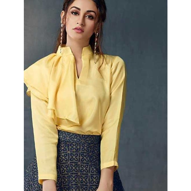2da84b2055 New Arrival Beautiful Ready-made Blue Printed Skirt With New Style  Fashionable Yellow Top - Sparkle