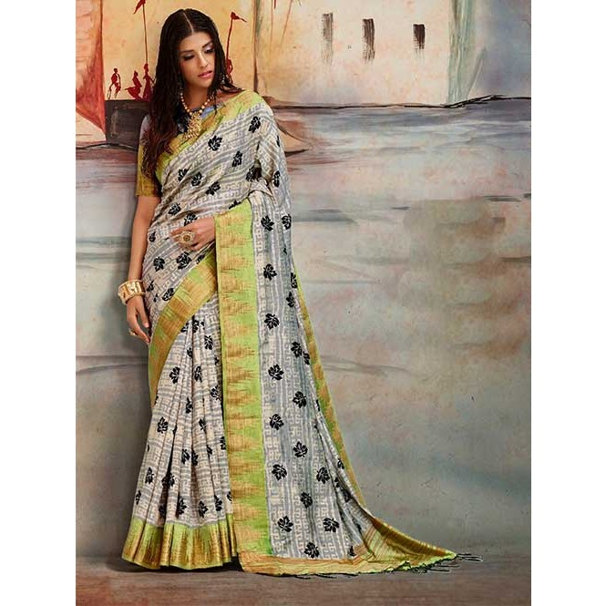 a7583f174b4af Off White Colored Beautiful Nylon Printed Silk Saree- Karla Silk ...