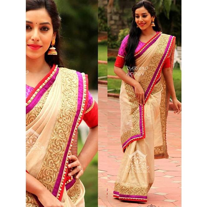 b229011b65510 Off White Colored Beautiful Nylon Silk Designer Saree With Banarasi ...