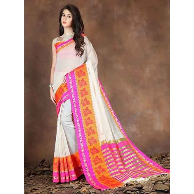 55d1d4c42c554 Off White Colored Beautiful Pure Soft Cotton Saree With Exclusive Latkan