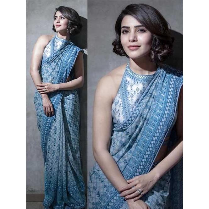 548f68b087fbb ... Colour Bollywood Star Samantha Vivo Silk Printed Saree. Off White