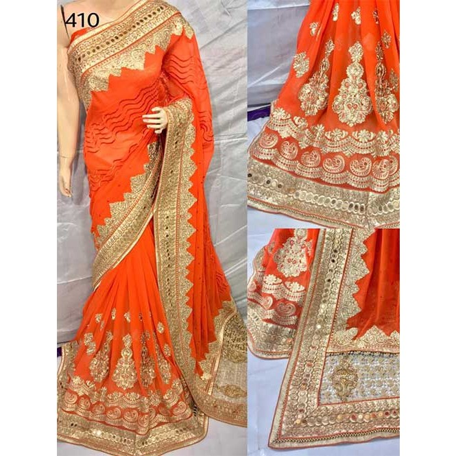 orange color heavy embroidered gorgeous pure bemberg saree for