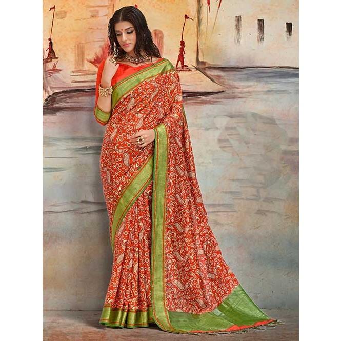 27bfe8b8a3923 Orange Colored Beautiful Nylon Printed Silk Saree- Karla Silk