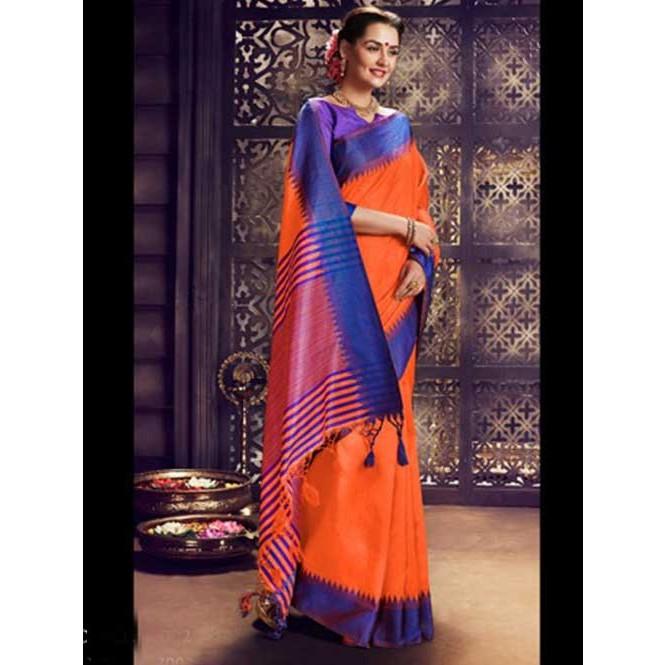 893a678245453 Orange Colored Beautiful Raw Silk Saree Display Gallery Item 1 ...