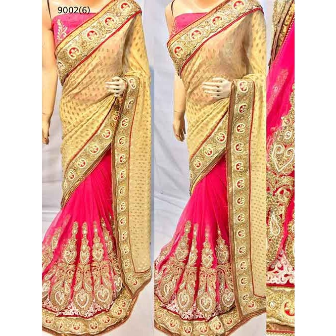 177827b0d6ab52 Peach Colored Beautiful Embroidered Pure Viscose Pallu and Net Patli Saree  Display Gallery Item 1 ...
