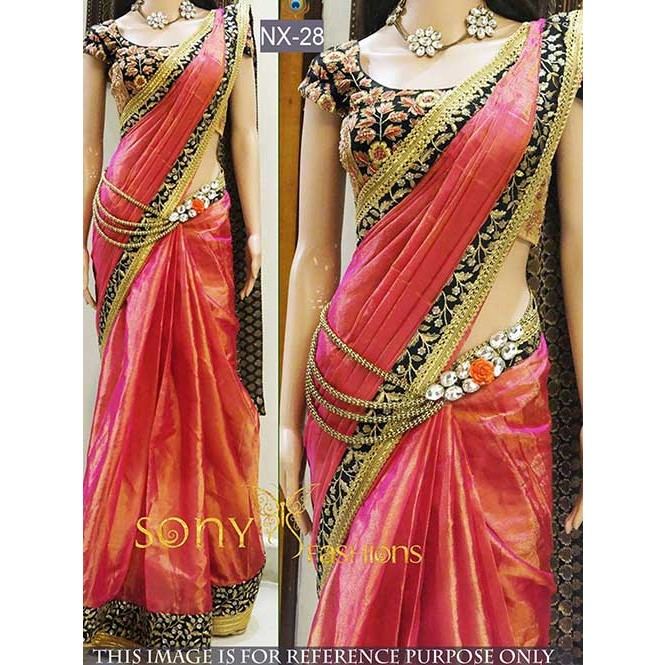 a4ce8e29977ff Peach Colored Beautiful Paper Silk Saree With Embroidered Blouse Display  Gallery Item 1 ...