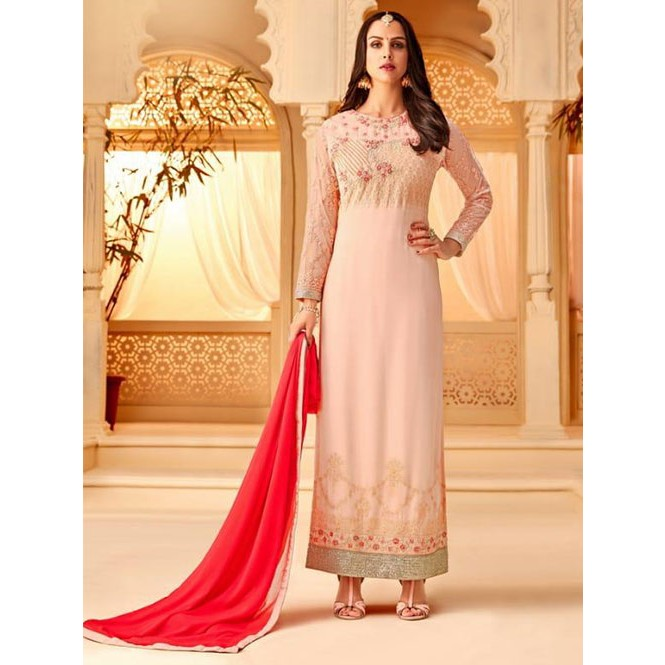 08bd0ba742 Peach Colored Heavy Embroidered Original Georgette Salwar Suit Material