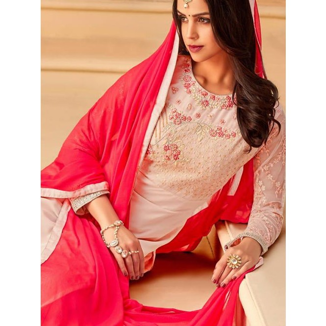 330b703603 Peach Colored Heavy Embroidered Original Georgette Salwar Suit Material -  Mayra