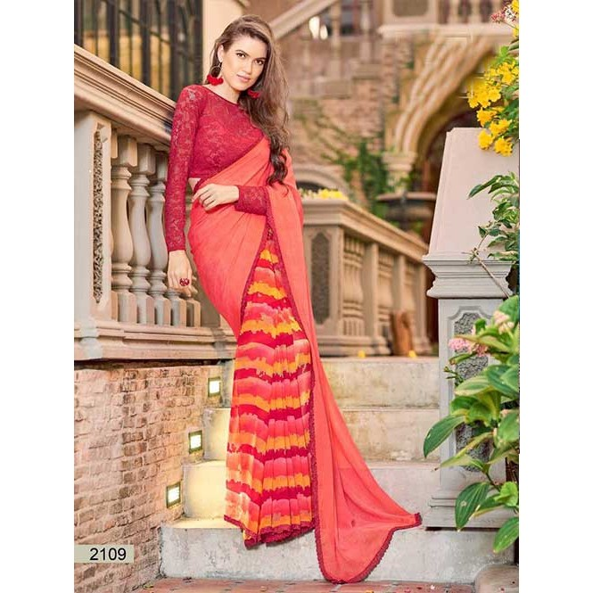 9769216257f Peach Colored chiffon and Faux Georgette Printed Saree With Beautiful Blouse  Display Gallery Item 1 ...