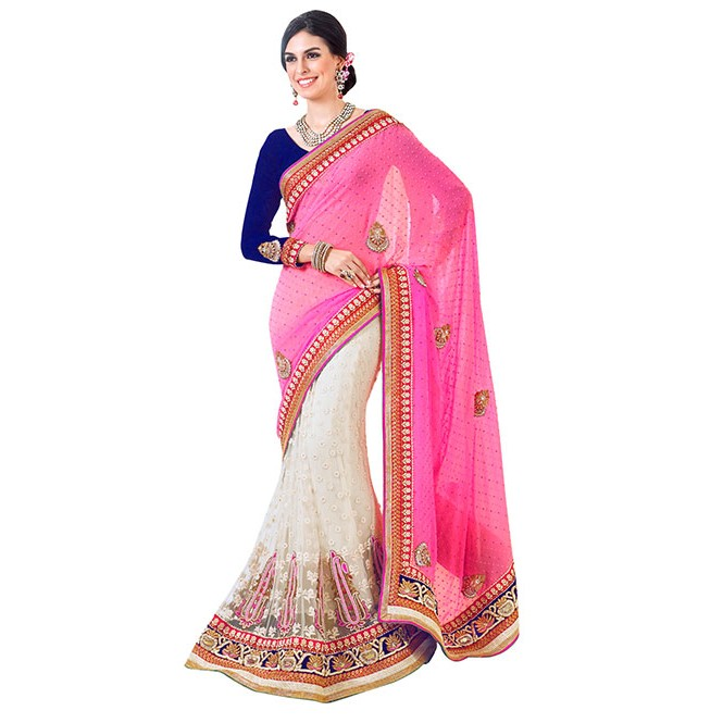 4681a2235ff87 Pink and Off White Colored Beautiful Embroidered Pure Georgette ...