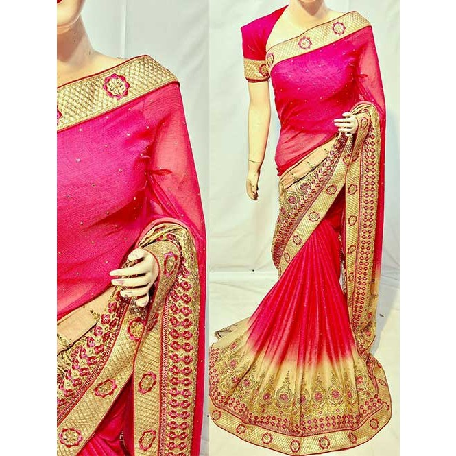 5ba40574f6 Pink Color Beautiful Soft Chiffon Fabric Saree With Two Tone Effect Also  Have Embroidery and Stone Display Gallery Item 1