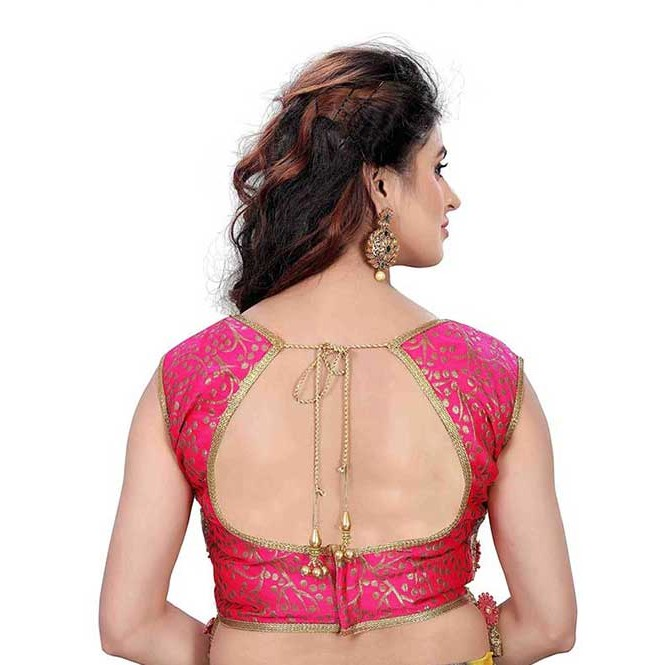 b4d70780cfe08 ... Pink color Jacquard Silk   Net Beautiful Embroidered Ready made  Designer Blouse. Pink · Pink Display Gallery Item 1 · Pink Display Gallery  Item 2 · Pink
