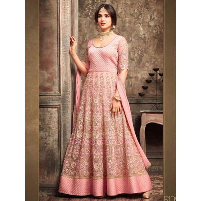 f638e7eada0 Pink Colored Beautiful Embroidered Net Anarkali Suit Display Gallery Item 1  ...