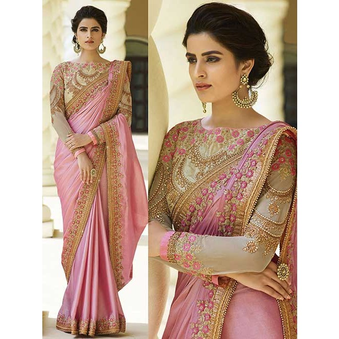bced4be89766f Pink Colored Beautiful Embroidered Satin Silk Saree Now