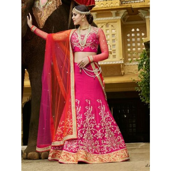 5006d89600 Pink Colored Beautiful Heavy Embroidered Banarasi Silk With Kandola Lehenga  Choli Display Gallery Item 1