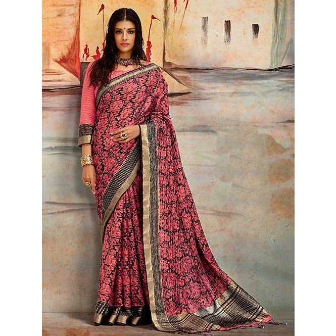 e9d08207e1333 Pink Colored Beautiful Nylon Printed Silk Saree- Karla Silk