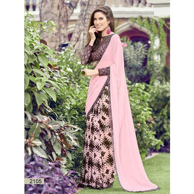 72b512ed9cf Display Gallery Item 1  Pink Colored chiffon and Faux Georgette Printed  Saree With Beautiful Blouse