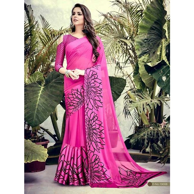 Pink Colored weightless Satin Patta Printed Saree