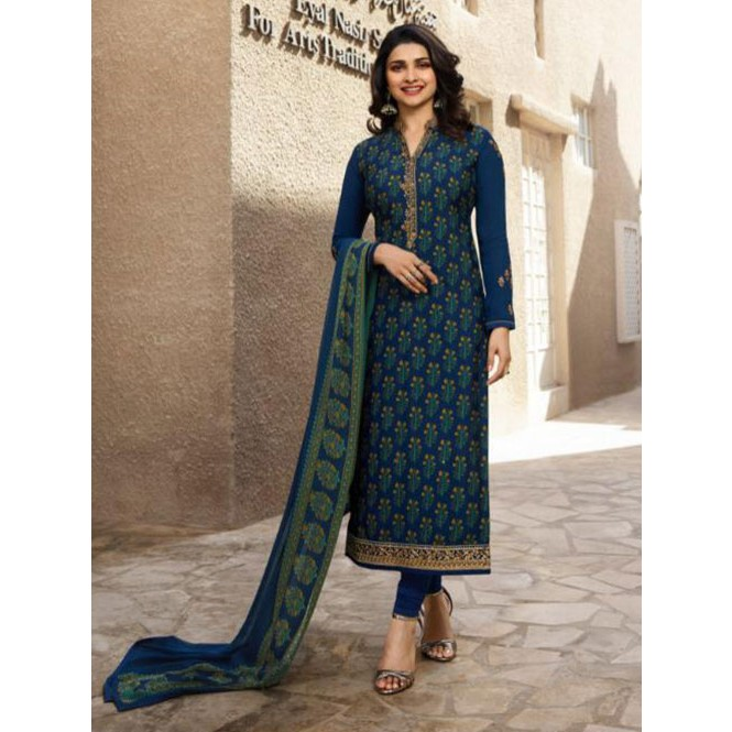 c61a7974c2 ... Blue Colored Crepe Straight Cut Printed Suit -Royal Crepe Display  Gallery Item 1 ...