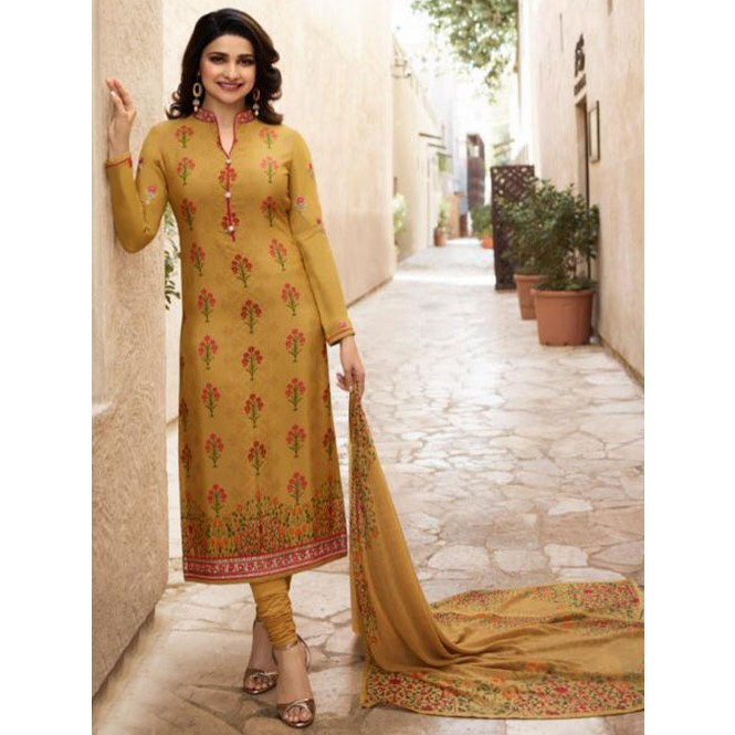 733a7b16c6 Prachi Desai in Yellow Colored Crepe Straight Cut Printed Suit ...