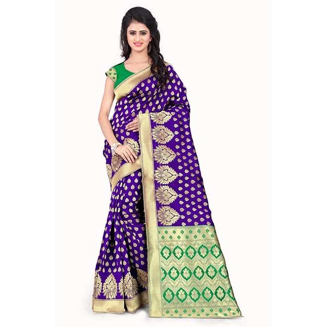 2da47ad8f9 Purple Colored Beautiful Banarasi Silk Saree Display Gallery Item 1 ...